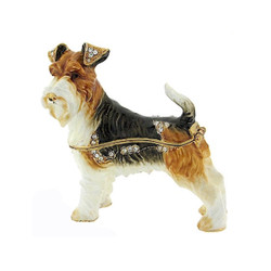 Bejeweled Fox Terrier Dog Trinket Box