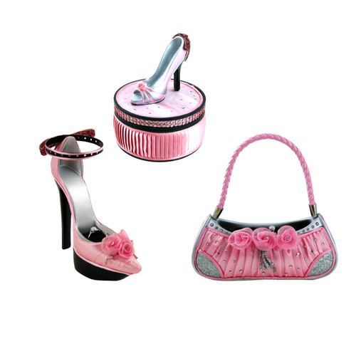 Set of 3 pink satin jewelry organizers display shoe and purse