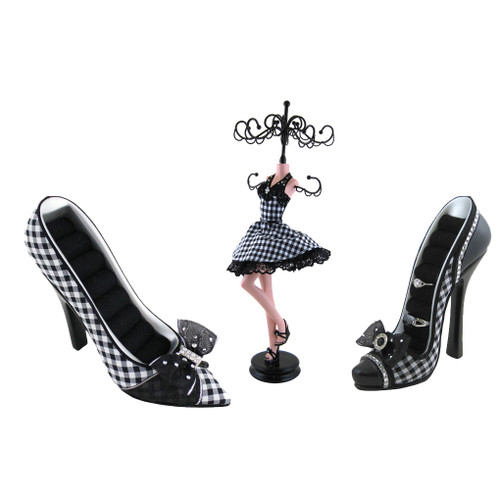 Black and white checkered mannequin and ring holder shoes set of 3