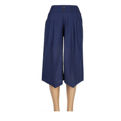 High-Waist Gaucho Pants Navy