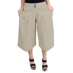 High-Waist Gaucho Pants Khaki