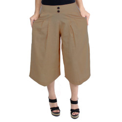 High-Waist Gaucho Pants Light Brown