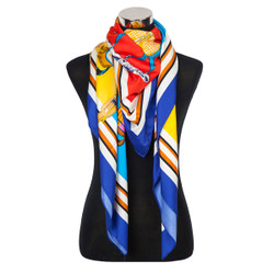 French Horse Designs Scarf Blue