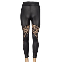 Black Wet Look Cut Out Lace Sides Legging