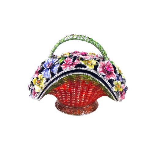 Flower Basket Trinket Box Bejeweled