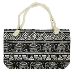 Elephant Canvas Large Tote Rope Handles Black