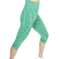 Multicolor Print Sports Capri Green
