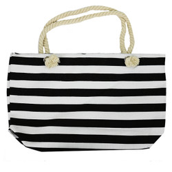 Striped Canvas Large Tote Rope Handles Black
