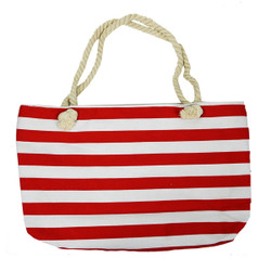 Striped Canvas Large Tote Rope Handles Red