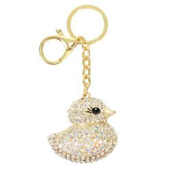 Rhinestone Classic Ducky Charm Keychain Gold