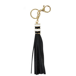 Gold Two-Tone Charm Tassel Key Chain and Purse Charm Black
