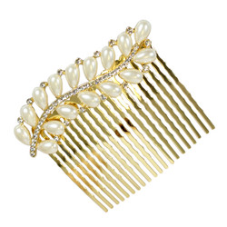 Rhinestone and Pearl Leaf Hair Comb Gold