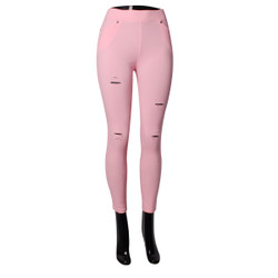 Distressed Sexy Stretch Jeggings Pink