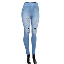 Denim Look Ripped Faux Jean Leggings Blue