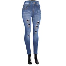 Denim Look Ripped Faux Jean Leggings Dark Blue