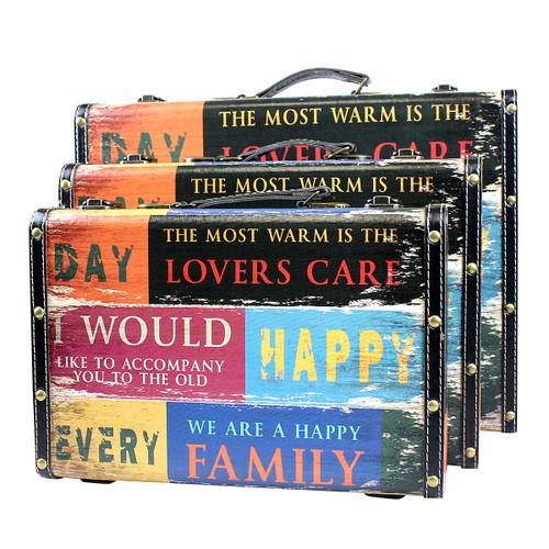 Family Empowerment Commemorative Souvenir Decorative Wooden Storage Box Suitcases 3 Piece Set