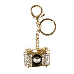Rhinestone Vintage Camera Charm Keychain Gold