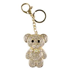 Rhinestone Mr. Teddy B Charm Keychain Gold Ice