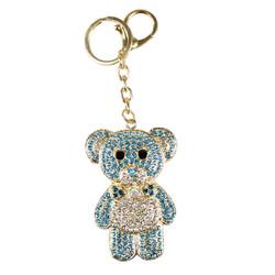 Rhinestone Mr. Teddy B Charm Keychain Gold Pink