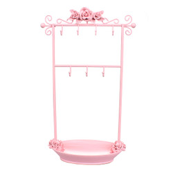 Pink Rose Jewelry Rack with Tray
