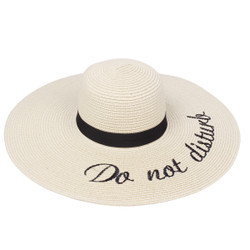 Embroidered Do not Disturb Sun Floppy Hat Beige