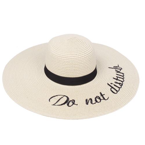 Embroidered Do not Disturb Sun Floppy Hat Beige