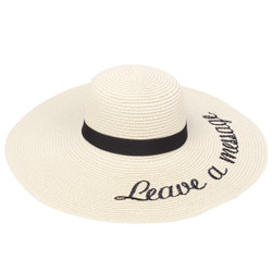 Embroidered Leave a Message Sun Floppy Hat Beige