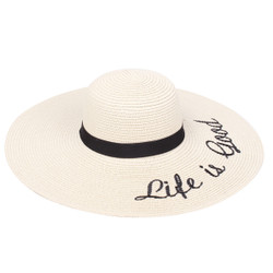 Embroidered Life is Good Sun Floppy Hat Beige