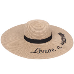 Embroidered Leave a Message Sun Floppy Hat Khaki
