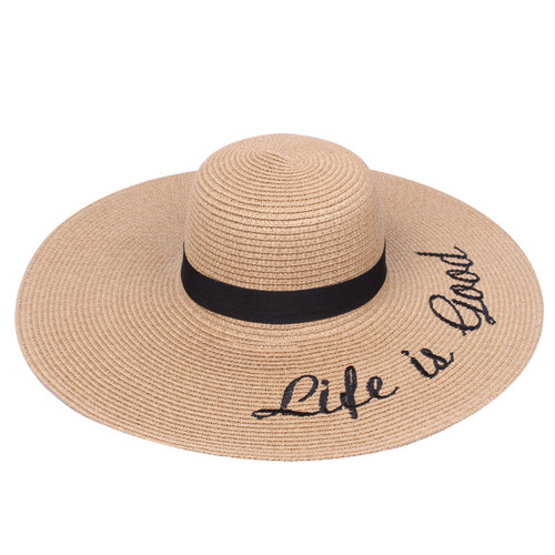 Embroidered Life is Good Sun Floppy Hat Khaki