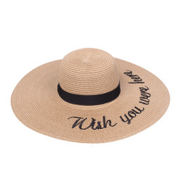 Embroidered Wish You Were Here Sun Floppy Hat Khaki