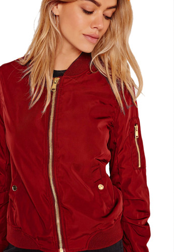 Lightweight Bomber Jacket Burgundy (XL)