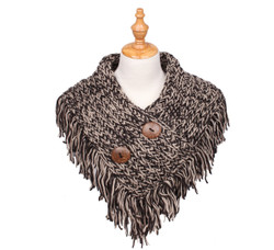 Cable Knit Button Collar Scarf Khaki/Black