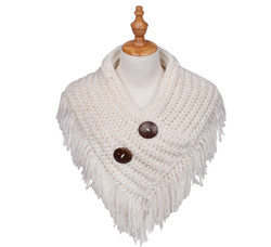 Cable Knit Button Collar Scarf Ivory/White