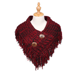Cable Knit Button Collar Scarf Black/Red