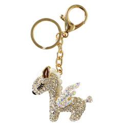 Rhinestone Unicorn Keychain Purse Charm White