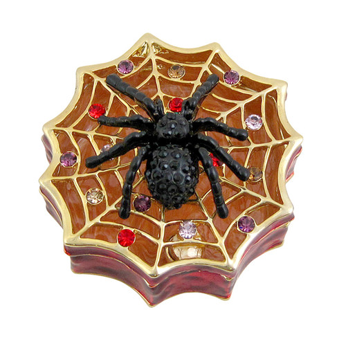 Spider on Web Trinket Box Bejeweled