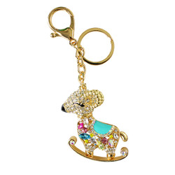 Rhinestone Rocking Ram Keychain Purse Charm Blue