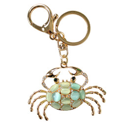 Gold Rhinestone Crab Keychain With Blue Color Stones Keychain Purse Charm