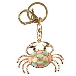 Gold Rhinestone Crab Keychain With Sandy Color Stones Keychain Purse Charm