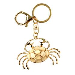 Gold Rhinestone Crab Keychain With Multi Color Stones Keychain Purse Charm