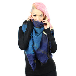 Oversize Checker Scarf Navy
