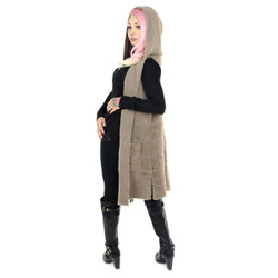 Cozy Long Hooded Cardigan Khaki