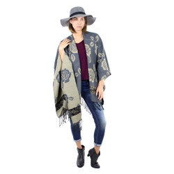 Floral Ruana Poncho with Tassels Grey
