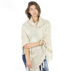 Cowl Neck Knit Boho Poncho Ivory