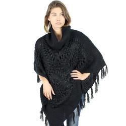Cowl Neck Knit Boho Poncho Black
