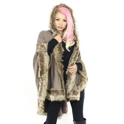 Faux Fur Trimmed Hooded Wrap Khaki