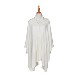 Button Wrap Hooded Cardigan Poncho Ivory