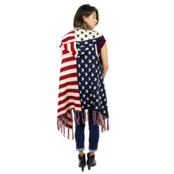 American Flag Sleeveless Hooded Cardigan Vest