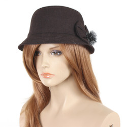 Bow Pom Pom Cloche Hat Brown